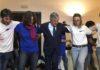 A Norcia Tajani balla con i giovani