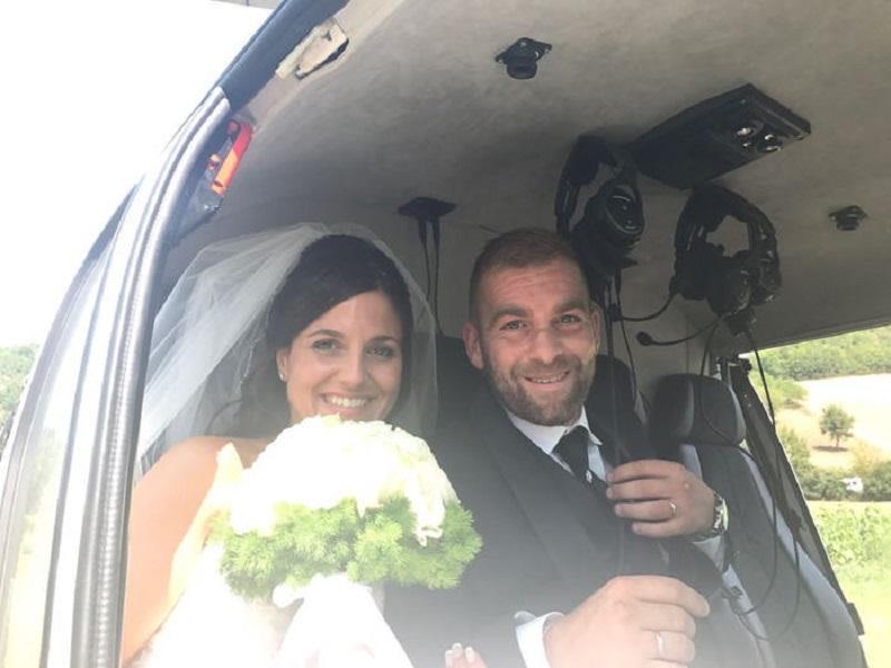 Cascia, neo sposi in elicottero sul monte Alvagnano
